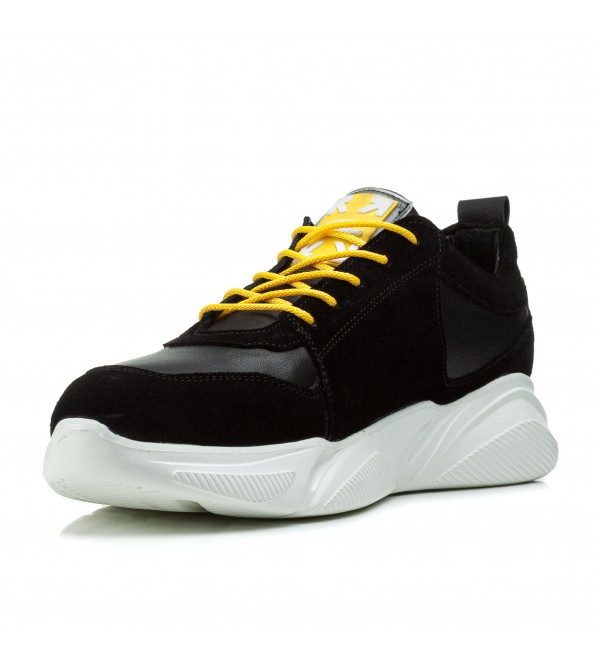 Кросівки чоловічі замшеві молодіжні Zummer з жовтими шнурками на білій підошві