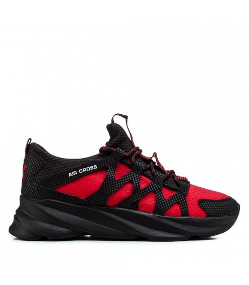 Кросівки чоловічі текстильні червоні з чорним Extrem