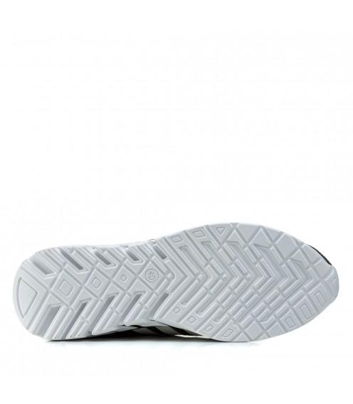 Кросівки чоловічі сірі модні Extrem в сіточку на білій підошві