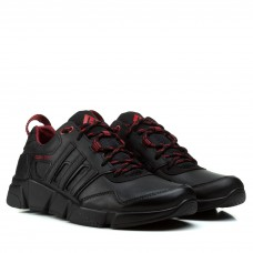 Кроссовки мужские кожаные удобные Extrem черные с красными шнурками