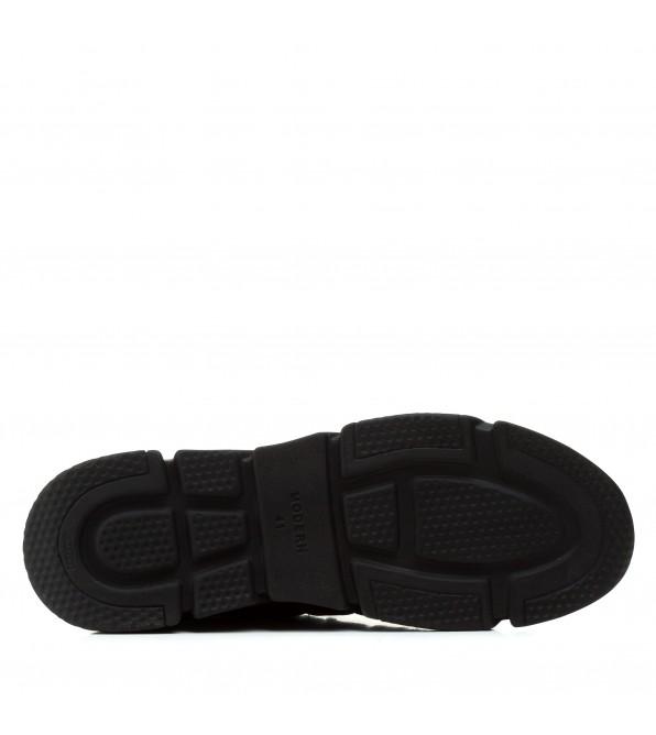 Кросівки чоловічі шкіряні зручні Extrem чорні з червоними шнурівками