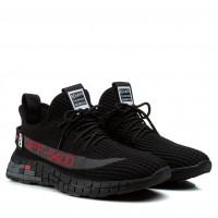 Мужские кроссовки черные с красными надписями в сеточку Lifexpert