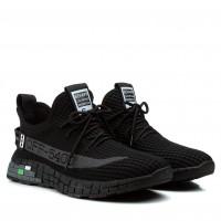 Мужские кроссовки черные с серыми надписями в сеточку Lifexpert