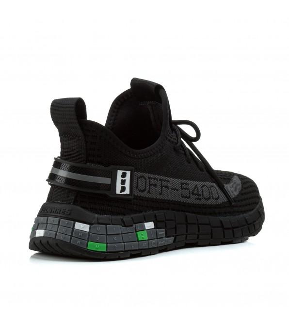 Чоловічі кросівки чорні з сірими написами в сіточку Lifexpert