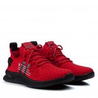Кроссовки мужские красные с резиновыми шнурками Lifexpert