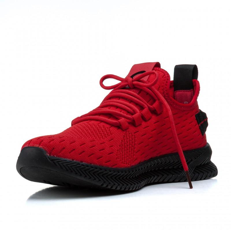 Кросівки чоловічі червоні з гумовими шнурівками Lifexpert