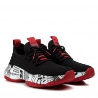 Кроссовки мужские модные с толстой платформой Lifexpert черные с красным