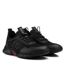 Мужские кроссовки черные кожаные на стильной подошве
