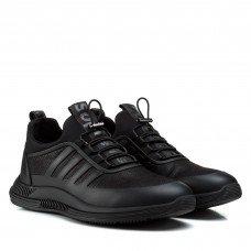 Мужские кроссовки черные кожаные на стильной подошве модные молодежные Lifexpert