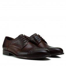 Туфли мужские кожаные коричневые с перфорацией Tapi коричневые на шнуровке