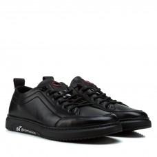Кеды мужские классические повседневные Vensi черные кожаные на шнуровке