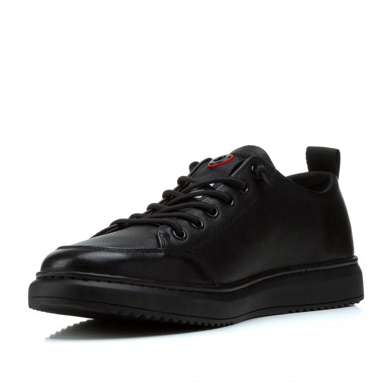 Кеди чоловічі класичні повсякденні Vensi чорні шкіряні на шнурівках