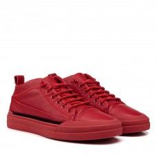Кеды мужские красные на удобной подошве модные стильные на шнуровке