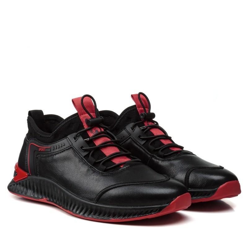 Кросовки чоловічі чорні з червоним шкіряні Vensi