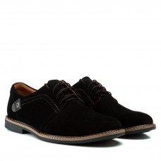 Туфли мужские замшевые повседневные Zlett черные на шнуровке