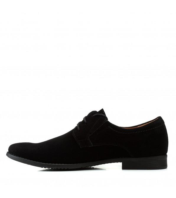 Туфлі чоловічі замшеві класичні Zlett чорні на шнурівках