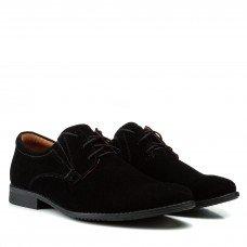 Туфли мужские замшевые классические Zlett черные на шнуровке