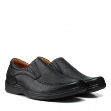 Туфли мужские кожаные черные без шнурков Zlett
