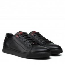 Кеды мужские кожаные черные на шнурках Brionis