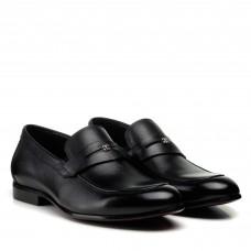 Туфли лоферы мужские черные кожаные Boss Victor