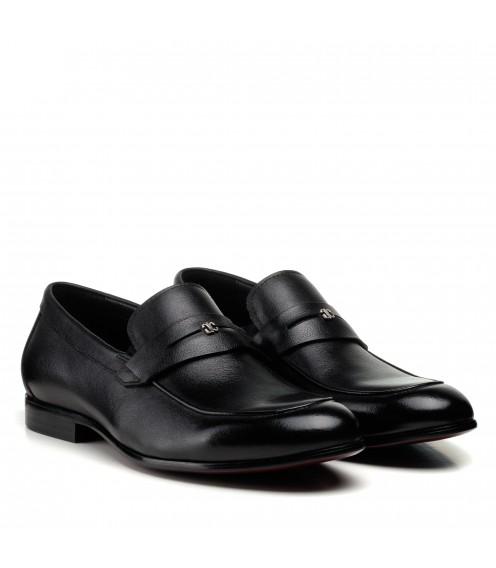 Туфлі лофери чоловічі чорні шкіряні  Boss Victor