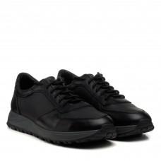 Кроссовки мужские черные кожаные Zlett