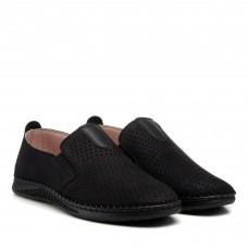 Туфли нубуковые черные с перфорацией altura