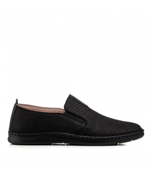 Туфлі нубукові чорні з перфорацією altura