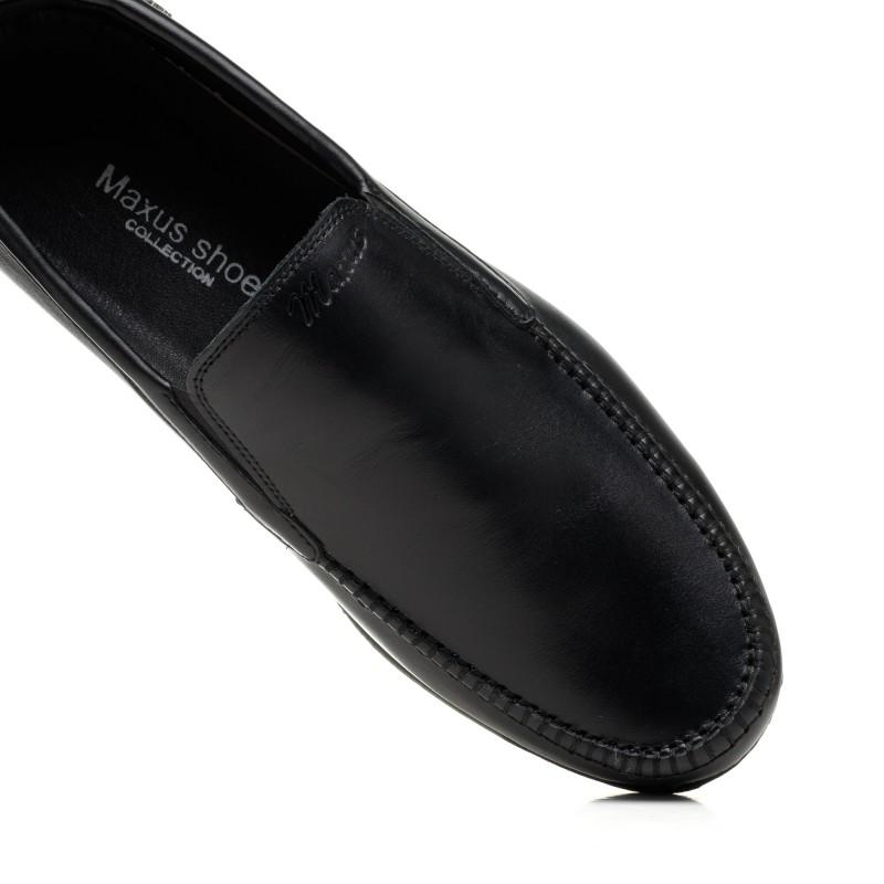 Мокасини чоловічі шкіряні чорні Maxusshoes