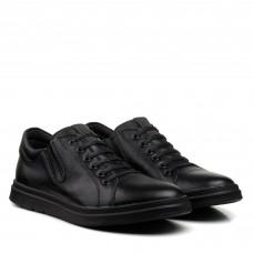 Туфли черные кожаные с имитацией шнуровки Maxusshoes
