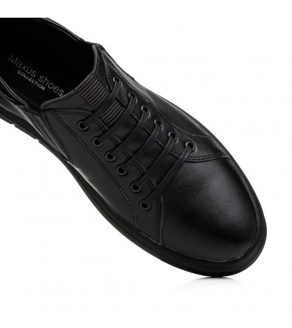 Туфлі чорні шкіряні з імітацією шнурування Maxusshoes