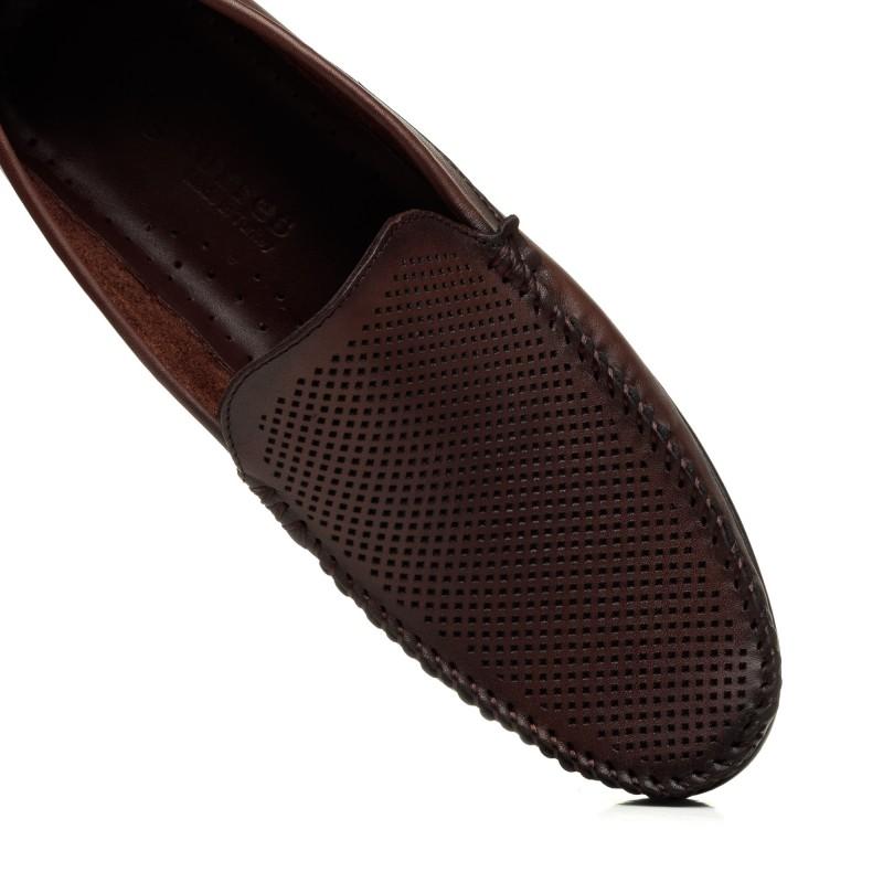 Мокасини чоловічі коричневі шкіряні  Big Torres