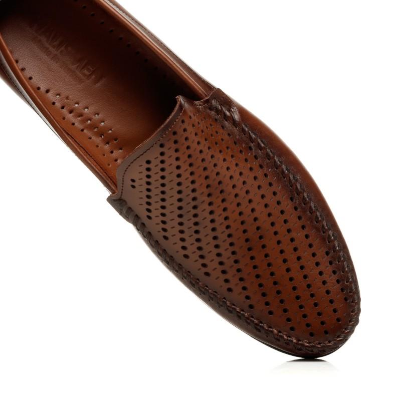 Мокасини чоловічі шкіряні коричневі літні DEPEDRO