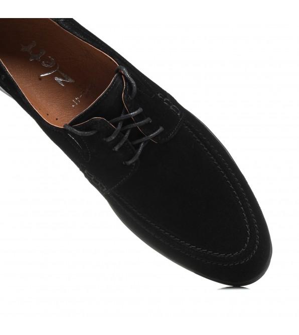 Туфлі чоловічі чорні замшеві на шнурках Zlett